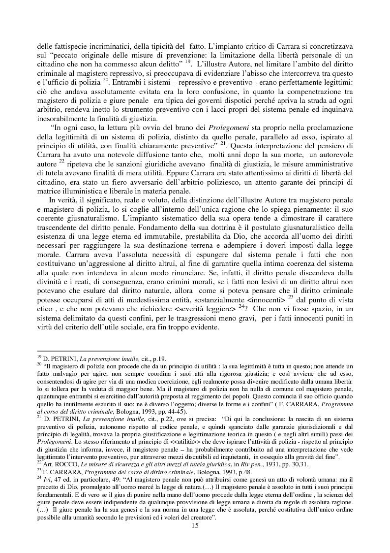 Anteprima della tesi: Le misure di prevenzione: microsistema giuridico penale connotato da perenne emergenza, Pagina 7