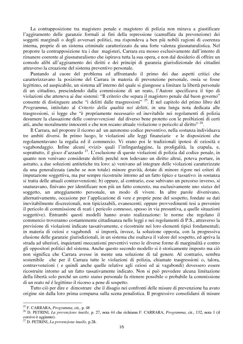 Anteprima della tesi: Le misure di prevenzione: microsistema giuridico penale connotato da perenne emergenza, Pagina 8