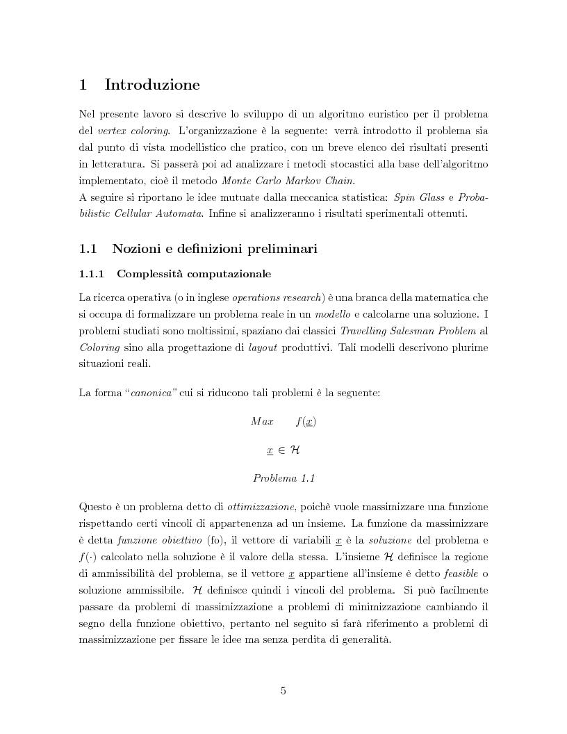 Anteprima della tesi: Un algoritmo euristico per il problema del vertex coloring, Pagina 1