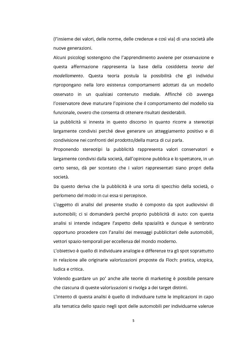 Anteprima della tesi: Semiotica a quattro ruote. Spazialità e valorizzazioni negli spot delle automobili., Pagina 3