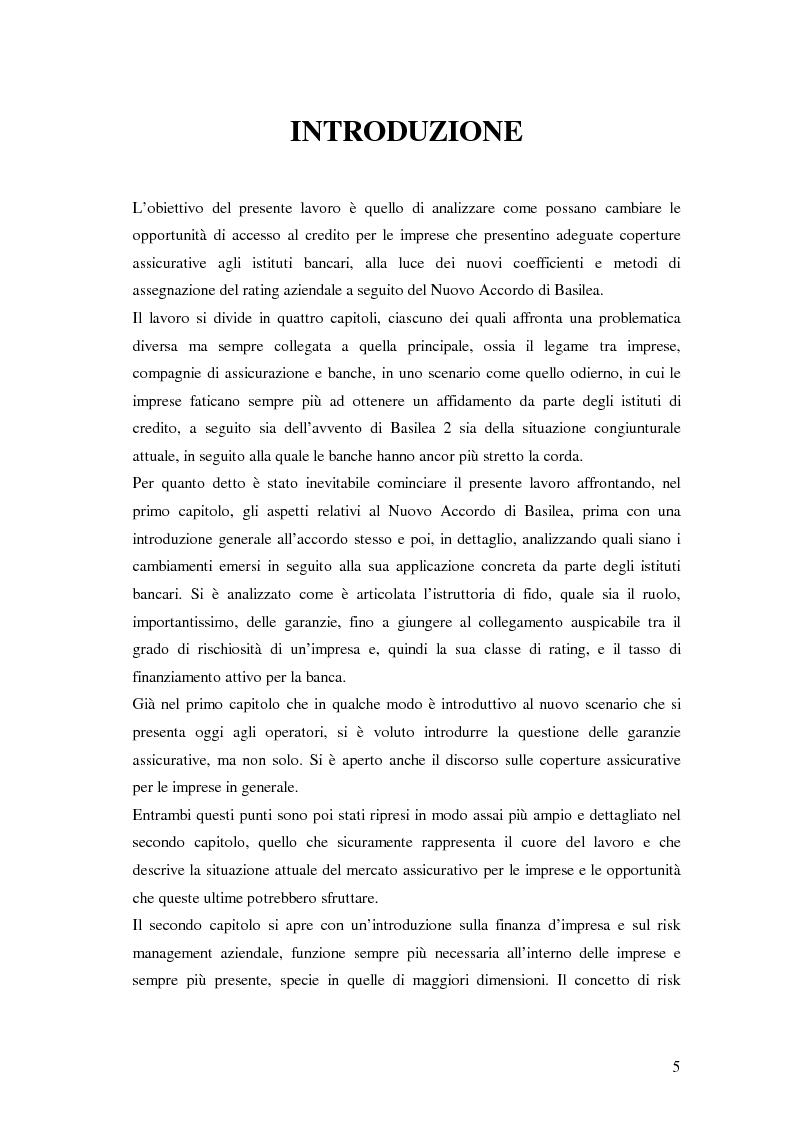 Anteprima della tesi: L'accesso al credito per le imprese assicurate, Pagina 1