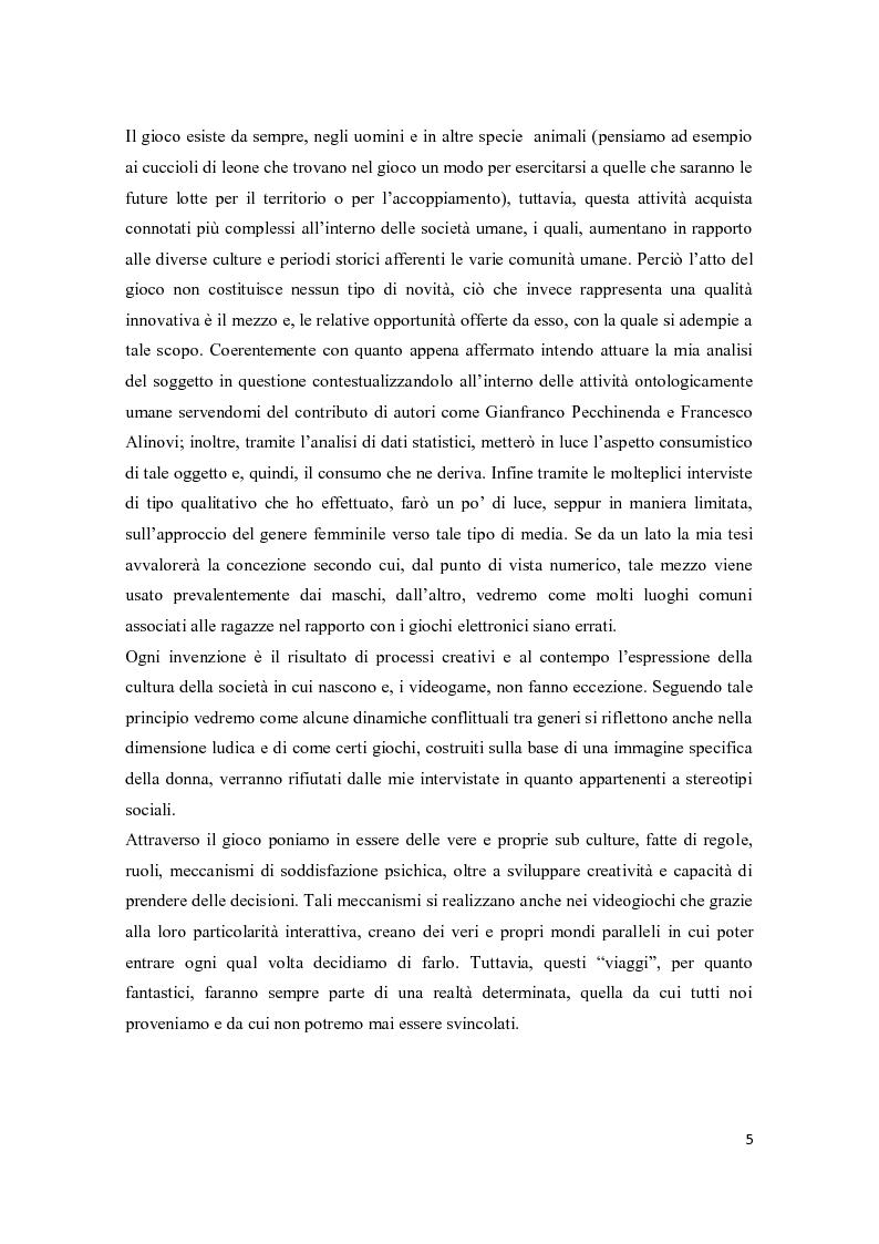 Anteprima della tesi: Il consumo femminile di videogame. Analisi di esperienze videoludiche di un gruppo di videogiocatrici venete., Pagina 3