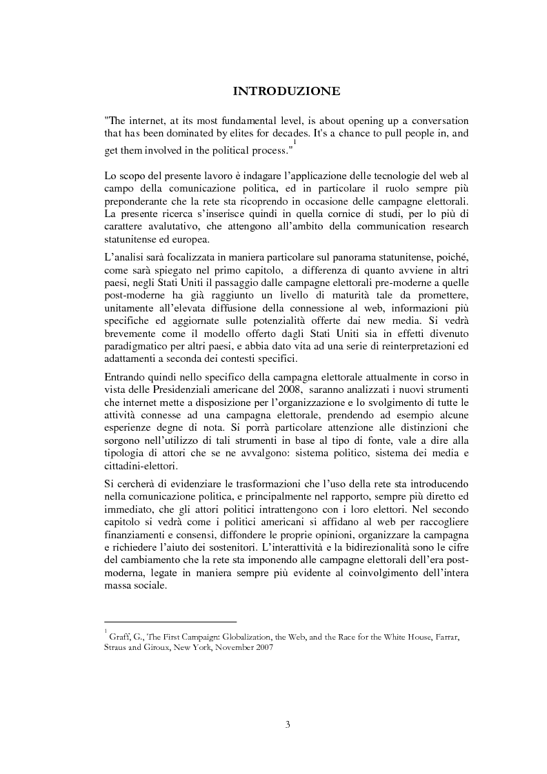Anteprima della tesi: Il ruolo di Internet nella campagna elettorale per le elezioni presidenziali americane del 2008, Pagina 1