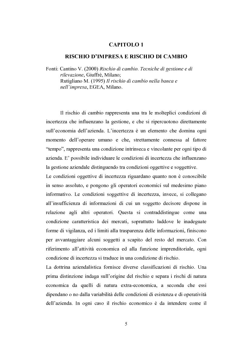 Anteprima della tesi: Il rischio di cambio: strumenti di gestione e hedge accounting, Pagina 1