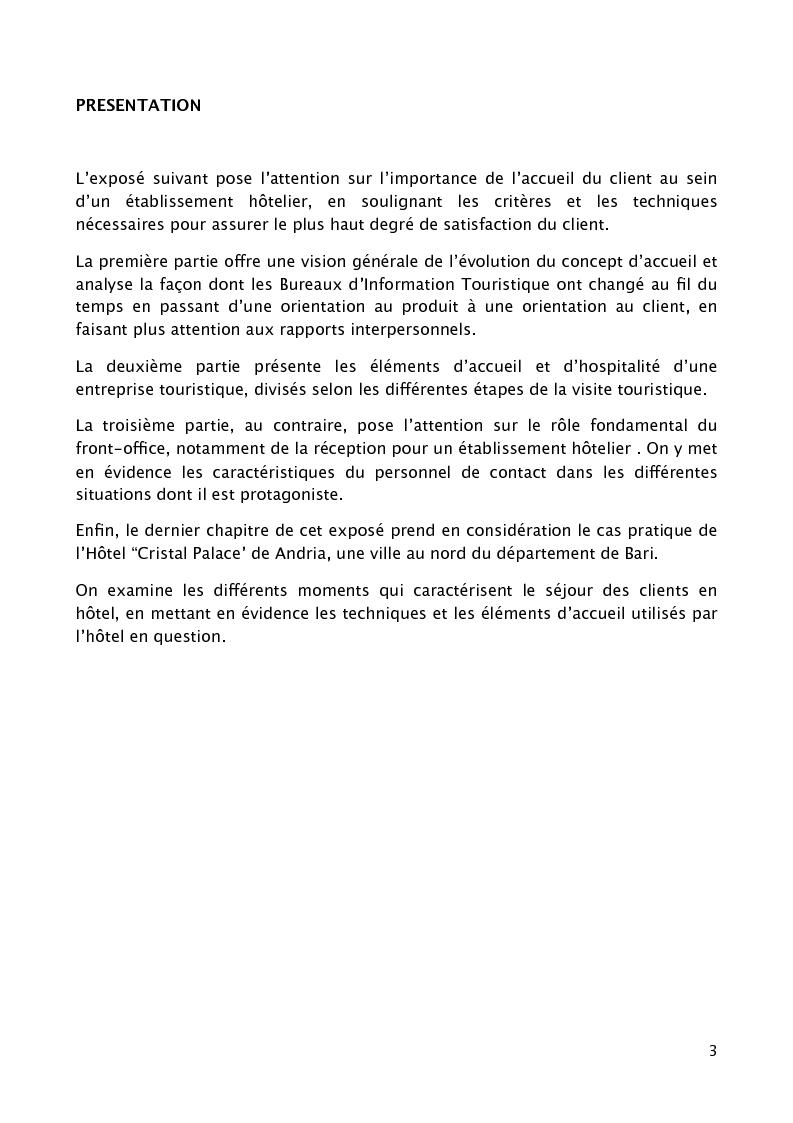 """Anteprima della tesi: L'accueil du client au sein d'un grand établissement hôtelier : le cas du """"Cristal Palace Hotel"""", Pagina 1"""