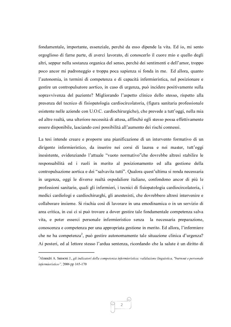 Anteprima della tesi: La Contropulsazione Aortica: studio di ricerca quantitativa e progetto formativo tra competenze, conoscenze e conflitti professionali, Pagina 2