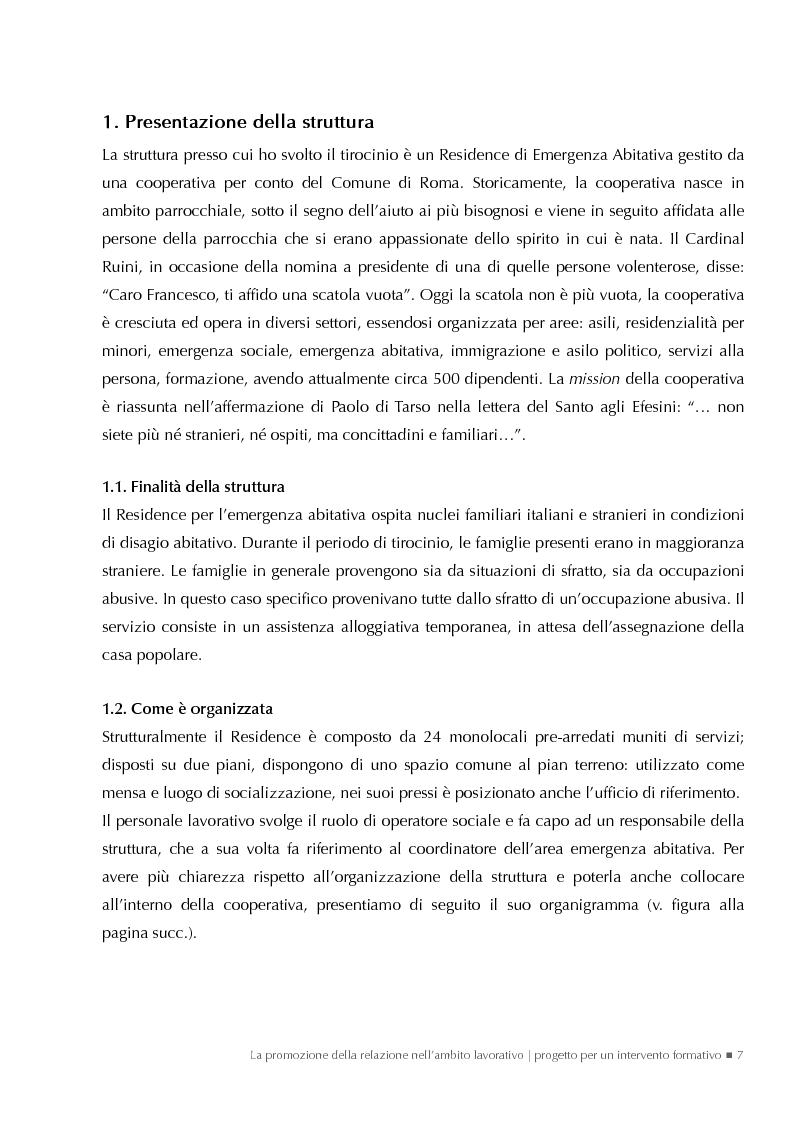 Anteprima della tesi: La promozione della relazione nell'ambito lavorativo. Progetto per un intervento formativo., Pagina 1