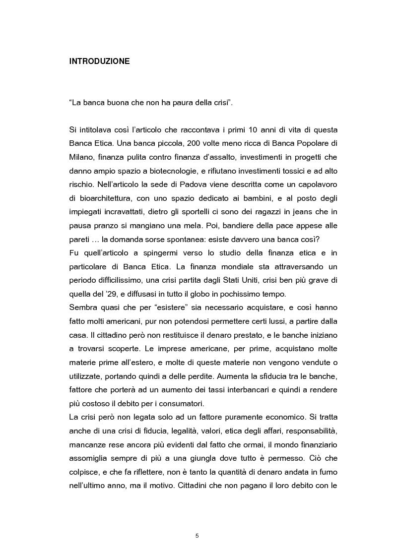 Anteprima della tesi: La Responsabilità Sociale nel settore bancario. Il caso Banca Etica., Pagina 1