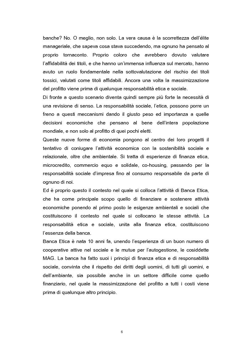 Anteprima della tesi: La Responsabilità Sociale nel settore bancario. Il caso Banca Etica., Pagina 2