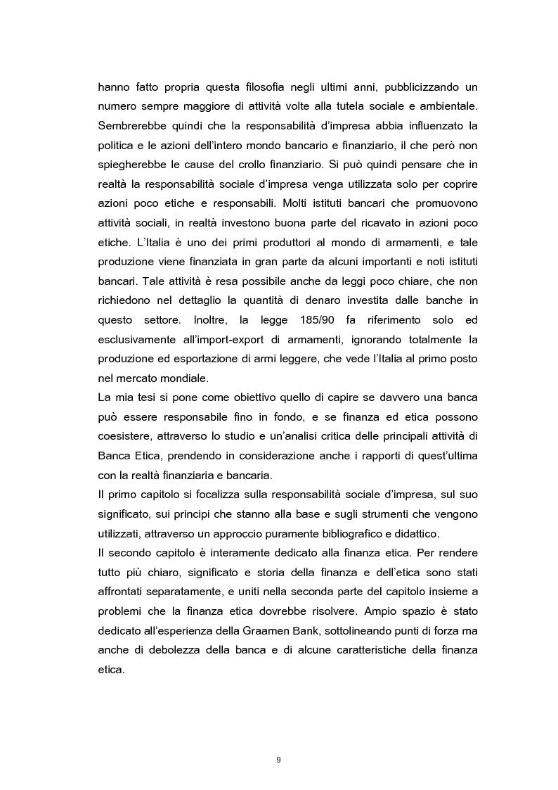 Anteprima della tesi: La Responsabilità Sociale nel settore bancario. Il caso Banca Etica., Pagina 5