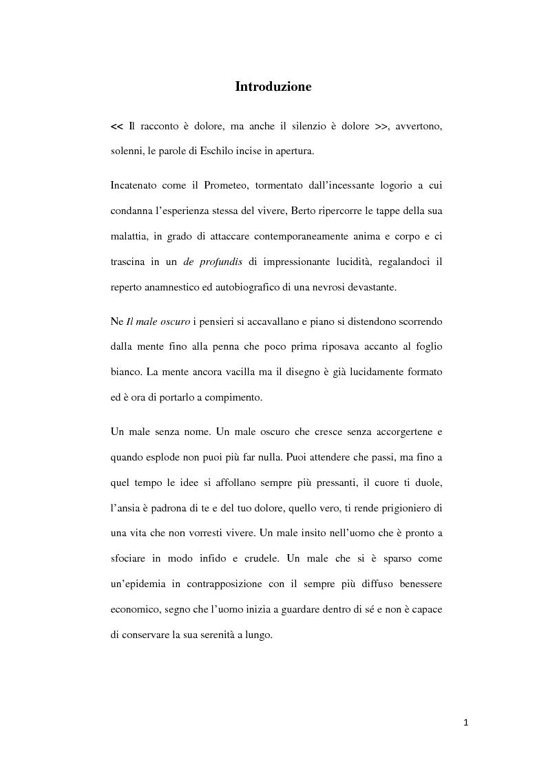 Anteprima della tesi: ''Il Male Oscuro'' di Giuseppe Berto, Pagina 1