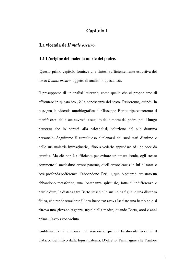 Anteprima della tesi: ''Il Male Oscuro'' di Giuseppe Berto, Pagina 5