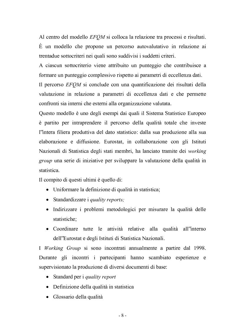 Anteprima della tesi: La gestione della Qualità nella produzione delle statistiche ufficiali, Pagina 3