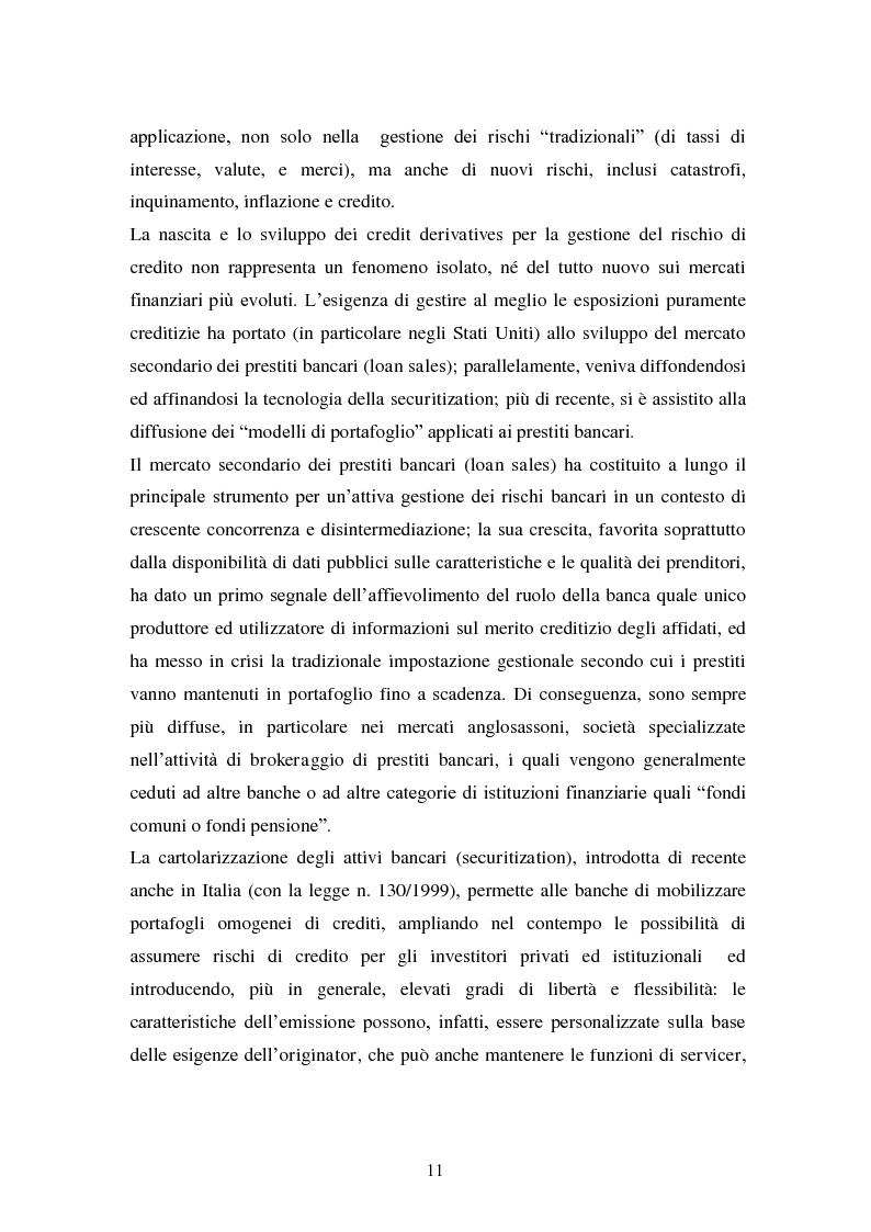 Anteprima della tesi: Alcune tipologie di derivati creditizi per la gestione del rischio di credito, Pagina 7