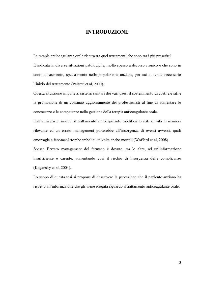 Anteprima della tesi: L'informazione al paziente anziano nella gestione della terapia anticoagulante orale, Pagina 1