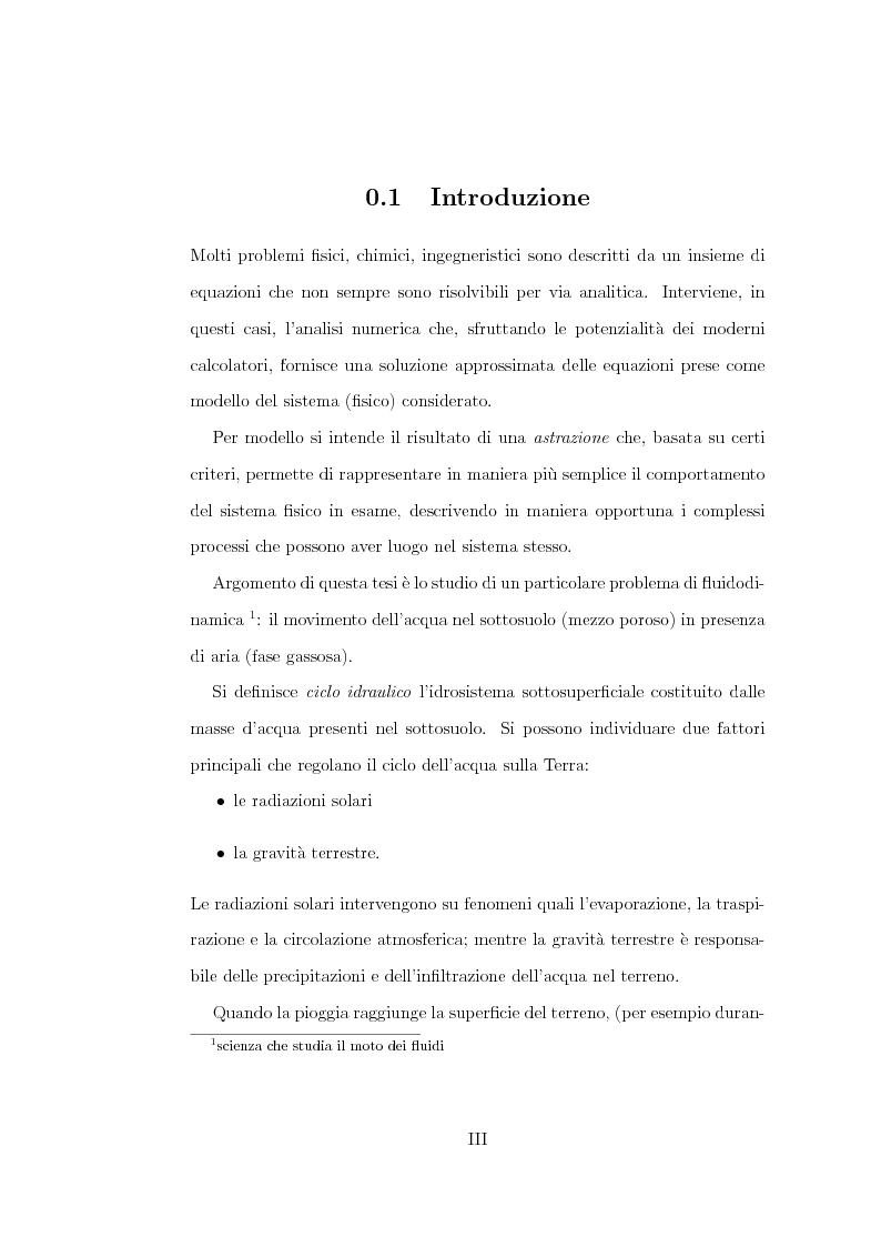 Anteprima della tesi: Risoluzione numerica dell'equazione di Richard per il moto di un fluido nel sottosuolo, Pagina 1
