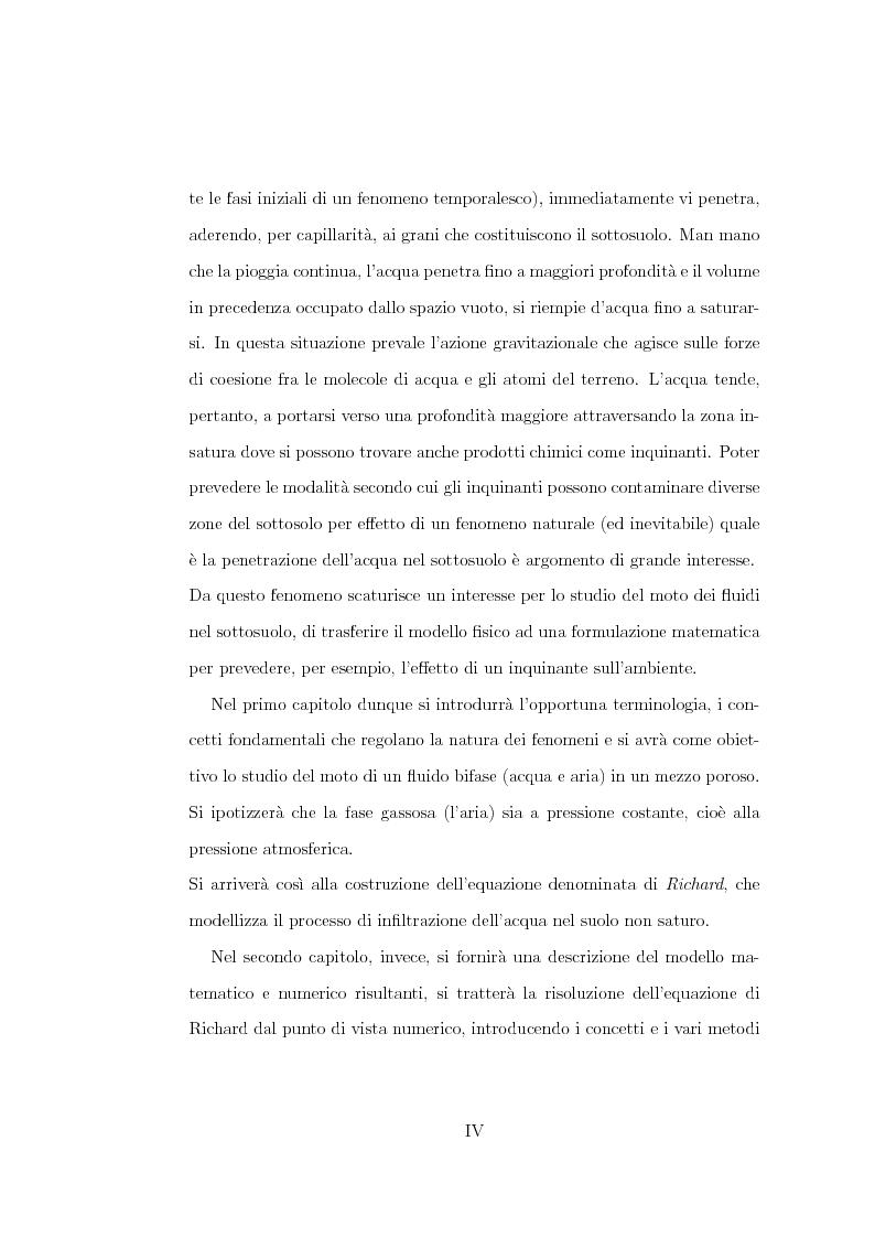 Anteprima della tesi: Risoluzione numerica dell'equazione di Richard per il moto di un fluido nel sottosuolo, Pagina 2
