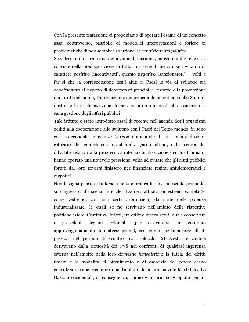 Anteprima della tesi: Nuove prospettive in materia di diritto dello sviluppo in Africa: le clausole di condizionalità politica nella prassi delle IFIs e dell'UE a confronto, Pagina 1