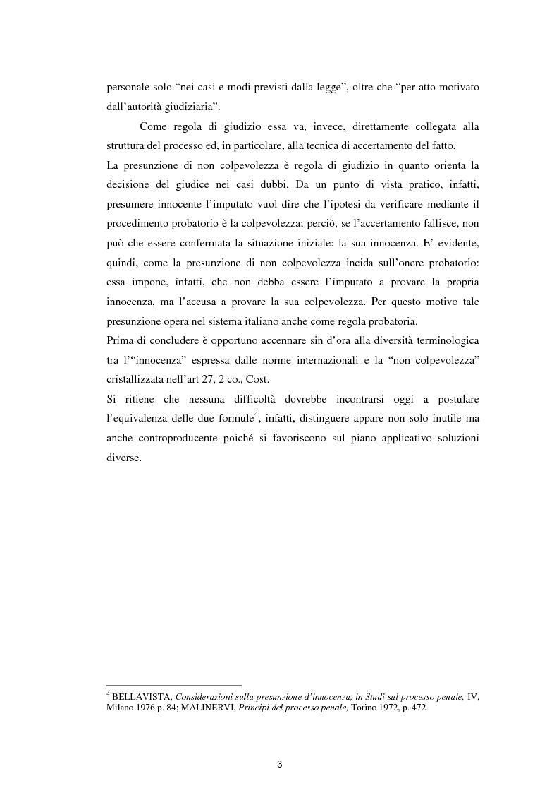 Anteprima della tesi: La presunzione di innocenza, Pagina 4