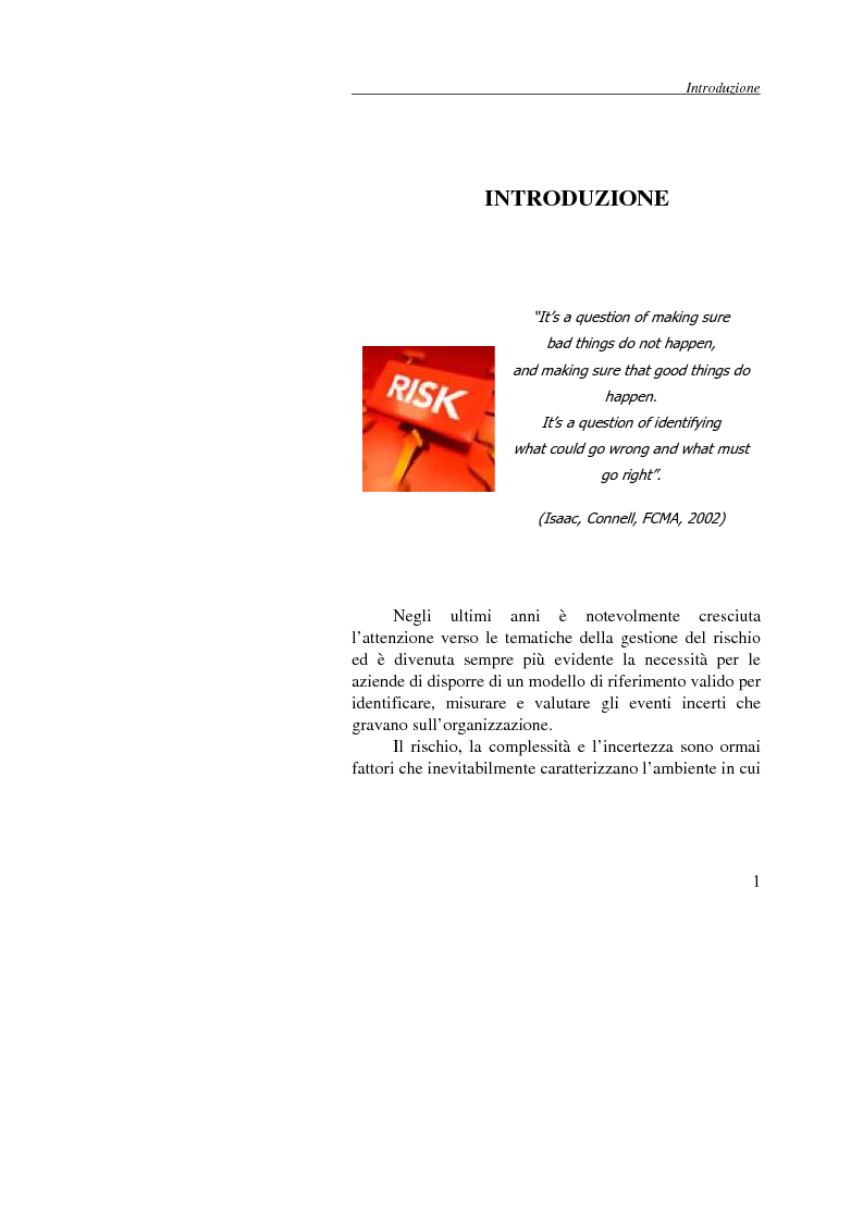Anteprima della tesi: Enterprise Risk Management: il caso Gruppo Telecom Italia, Pagina 1