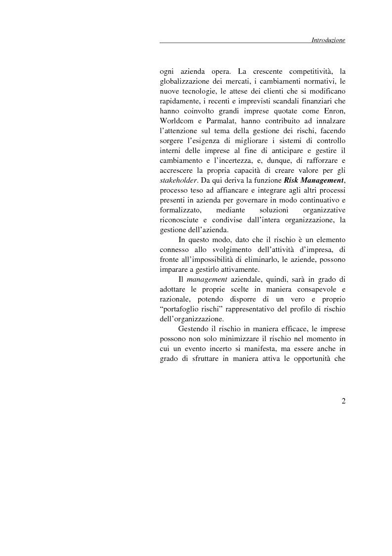 Anteprima della tesi: Enterprise Risk Management: il caso Gruppo Telecom Italia, Pagina 2