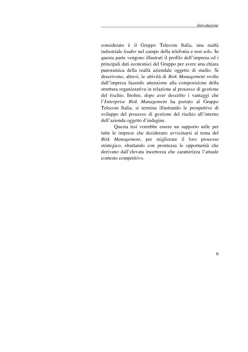 Anteprima della tesi: Enterprise Risk Management: il caso Gruppo Telecom Italia, Pagina 6