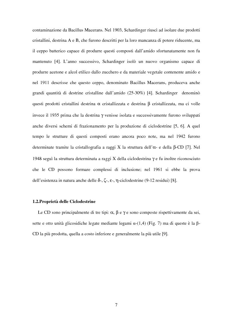 Anteprima della tesi: Le ciclodestrine nella chimica degli alimenti, Pagina 5
