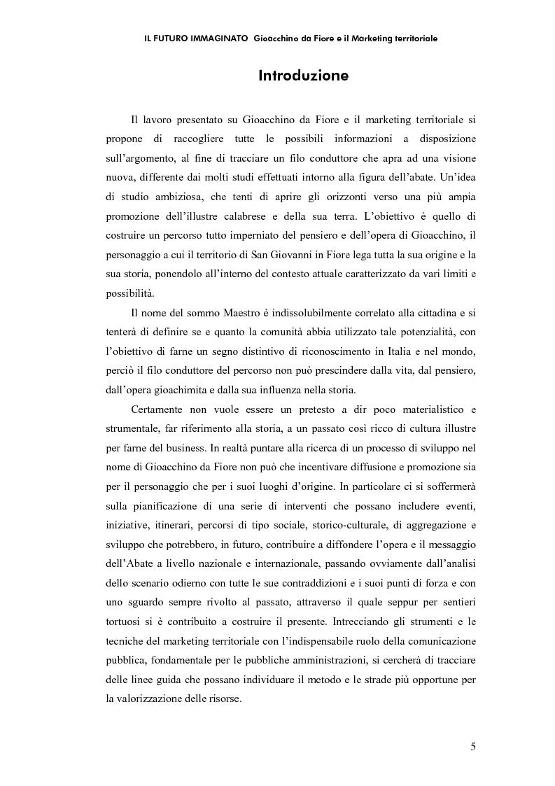 Anteprima della tesi: Il futuro immaginato - Gioacchino da Fiore e il marketing territoriale, Pagina 1