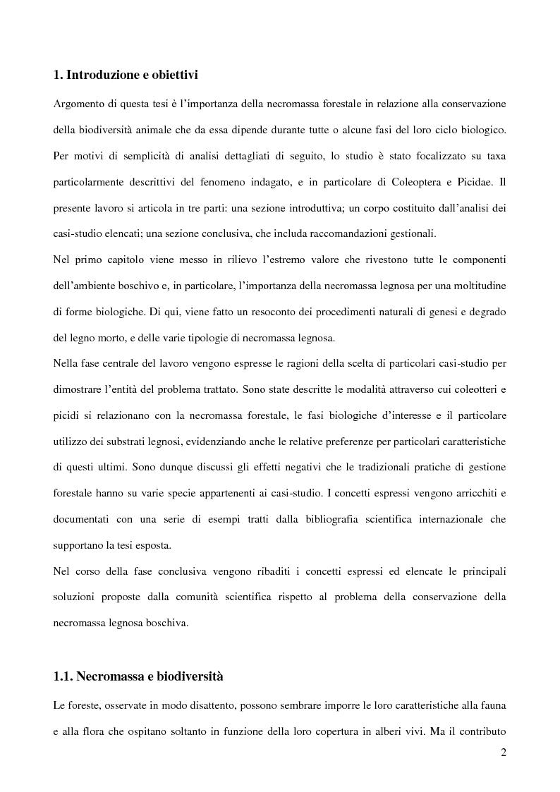 Anteprima della tesi: Il ruolo ecologico della necromassa forestale per la conservazione di specie minacciate, Pagina 1