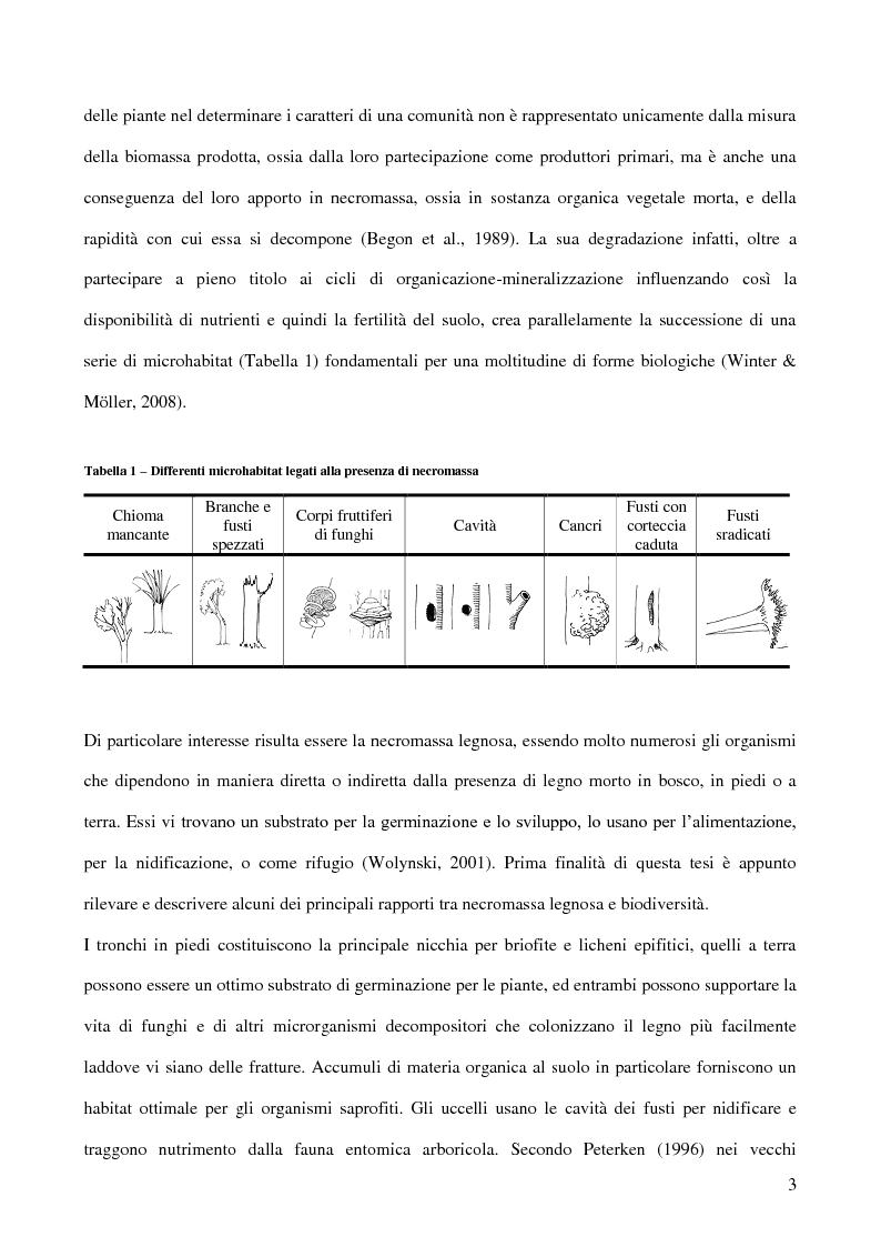 Anteprima della tesi: Il ruolo ecologico della necromassa forestale per la conservazione di specie minacciate, Pagina 2