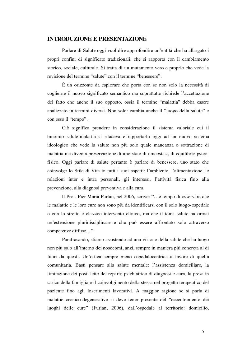 Anteprima della tesi: Valutazione dell'efficacia dell'intervento sullo stile di vita in pazienti affetti da sclerosi multipla: risultati preliminari, Pagina 1