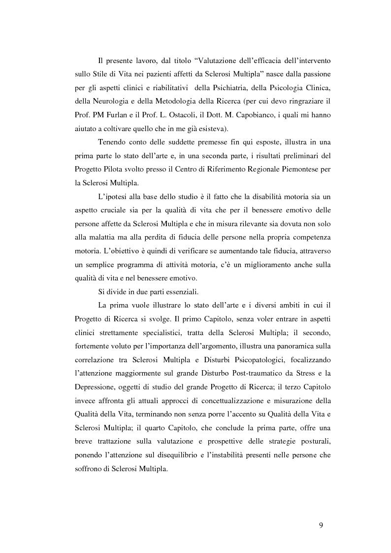 Anteprima della tesi: Valutazione dell'efficacia dell'intervento sullo stile di vita in pazienti affetti da sclerosi multipla: risultati preliminari, Pagina 5