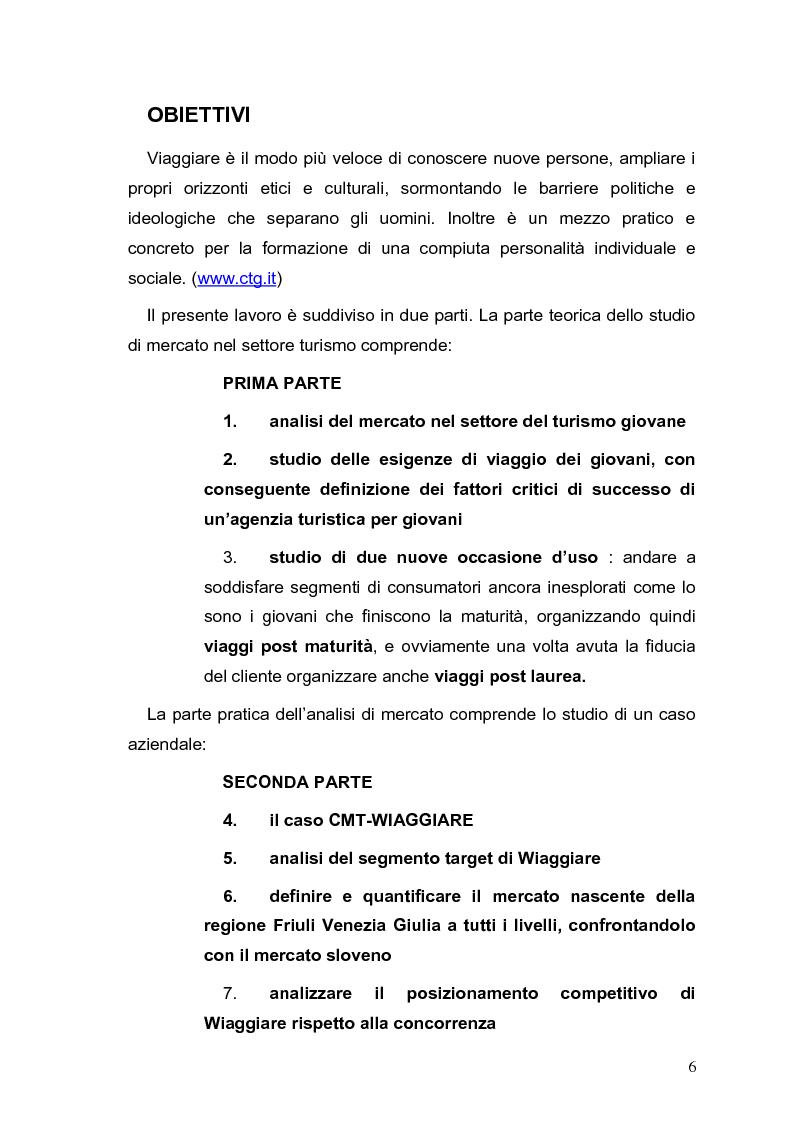 Anteprima della tesi: Un'analisi di mercato nel settore turistico. Il caso Cmt-Wiaggiare., Pagina 1