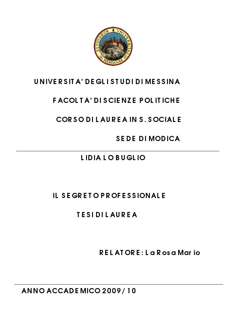 Anteprima della tesi: Il segreto professionale: profili penalistici, Pagina 1