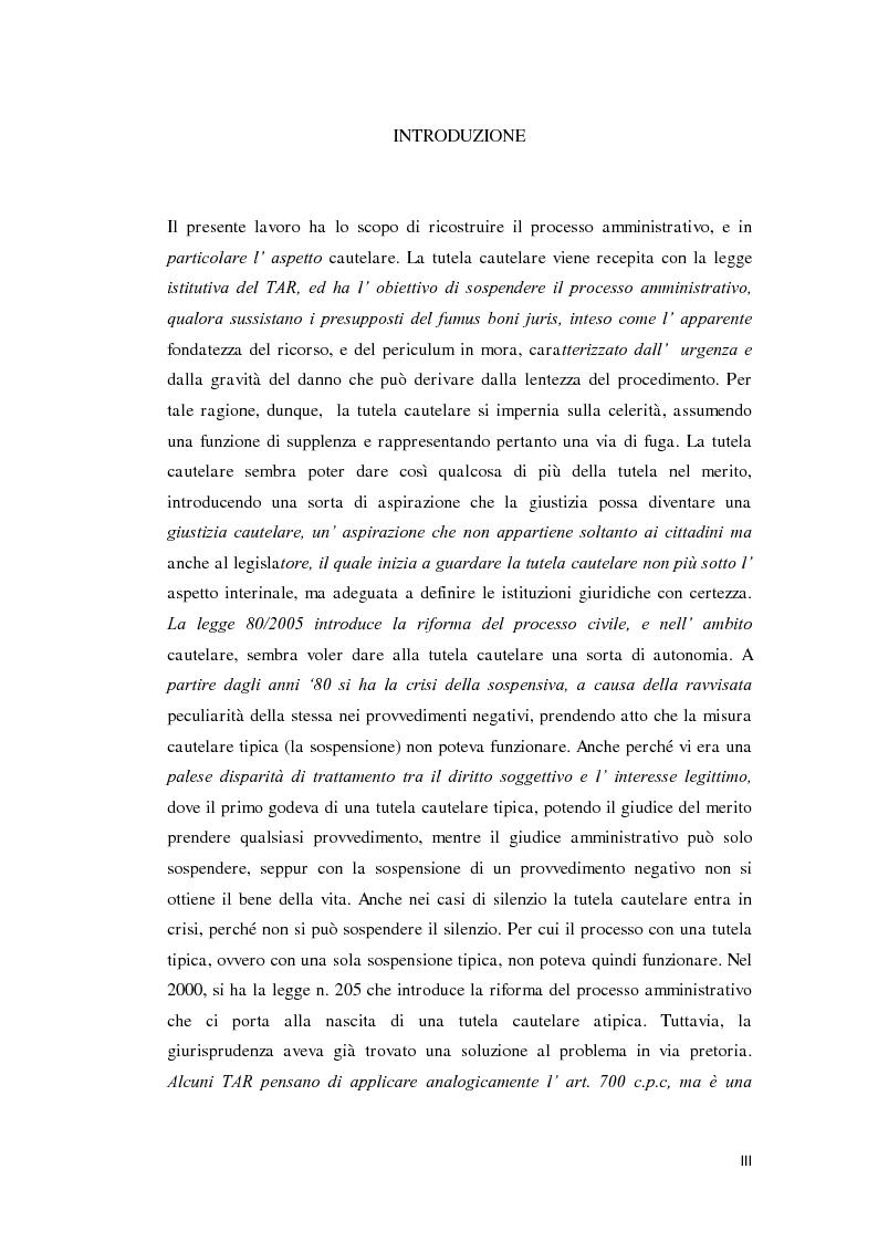 Anteprima della tesi: La tutela cautelare nel giudizio amministrativo, Pagina 1