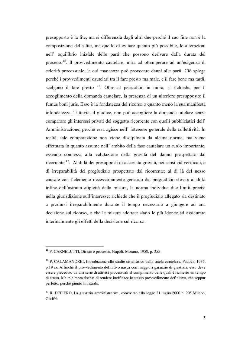 Anteprima della tesi: La tutela cautelare nel giudizio amministrativo, Pagina 10
