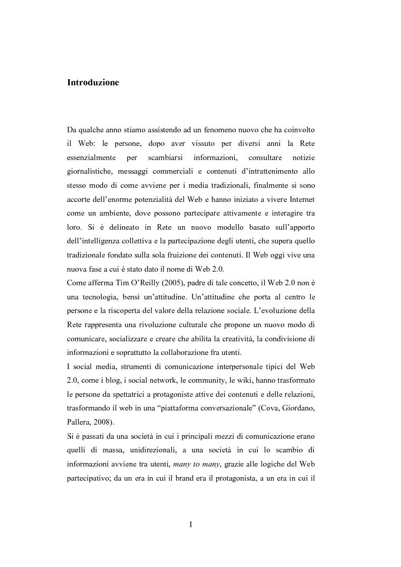 Anteprima della tesi: La comunicazione del brand nell'era del Web 2.0, Pagina 1
