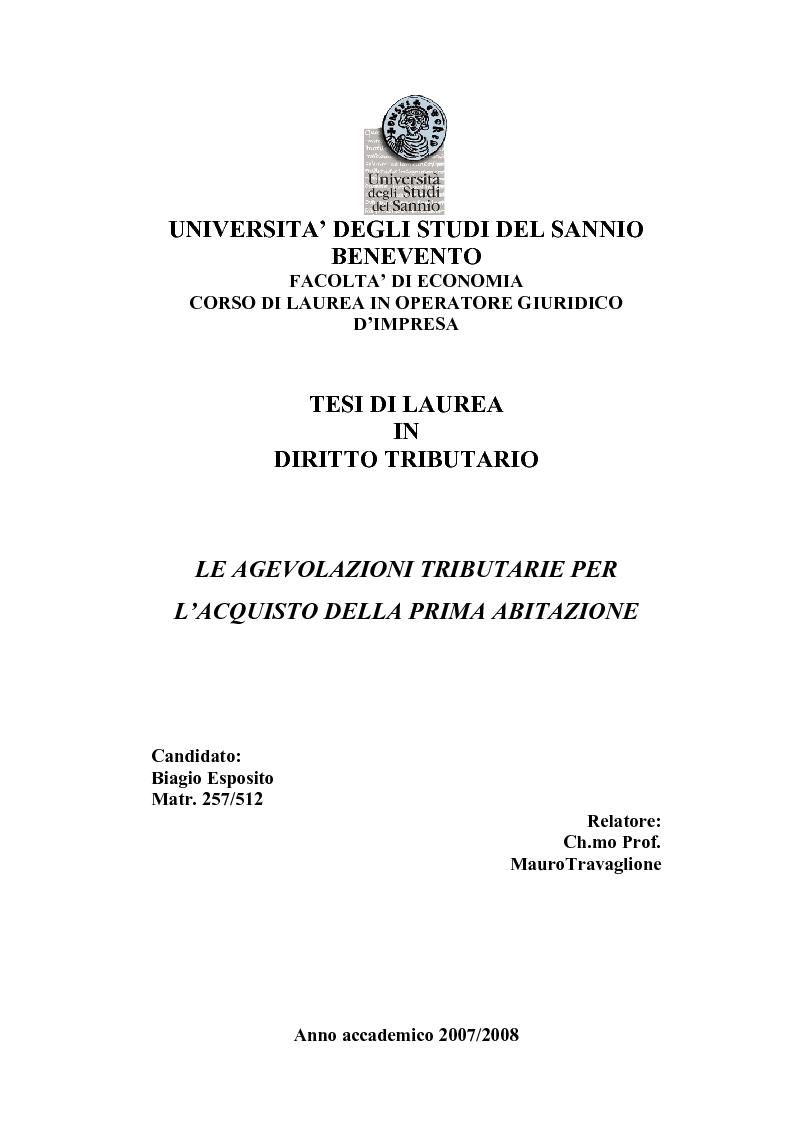 Anteprima della tesi: Le Agevolazioni Tributarie per l'Acquisto della Prima Abitazione, Pagina 1
