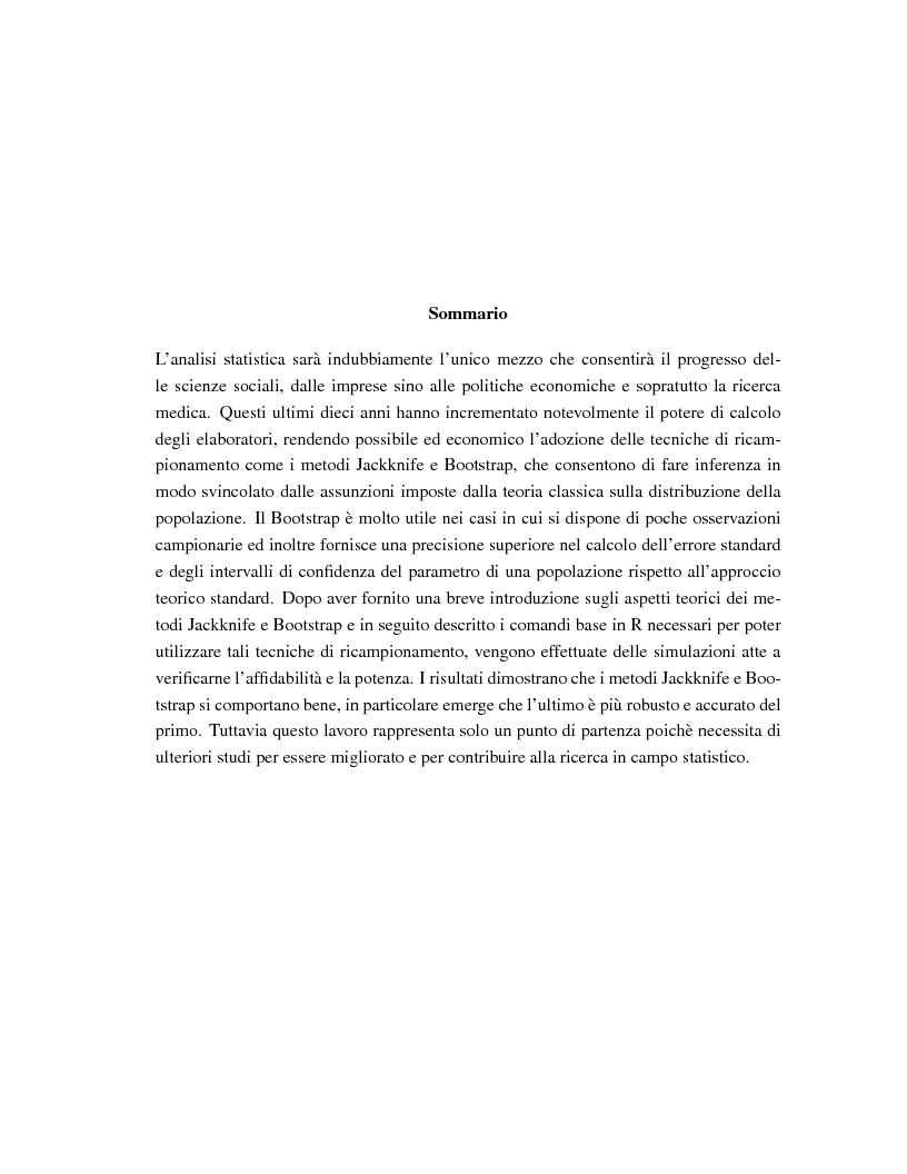 Anteprima della tesi: I metodi Jackknife e Bootstrap: teorie e applicazioni, Pagina 2