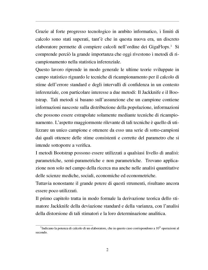 Anteprima della tesi: I metodi Jackknife e Bootstrap: teorie e applicazioni, Pagina 4
