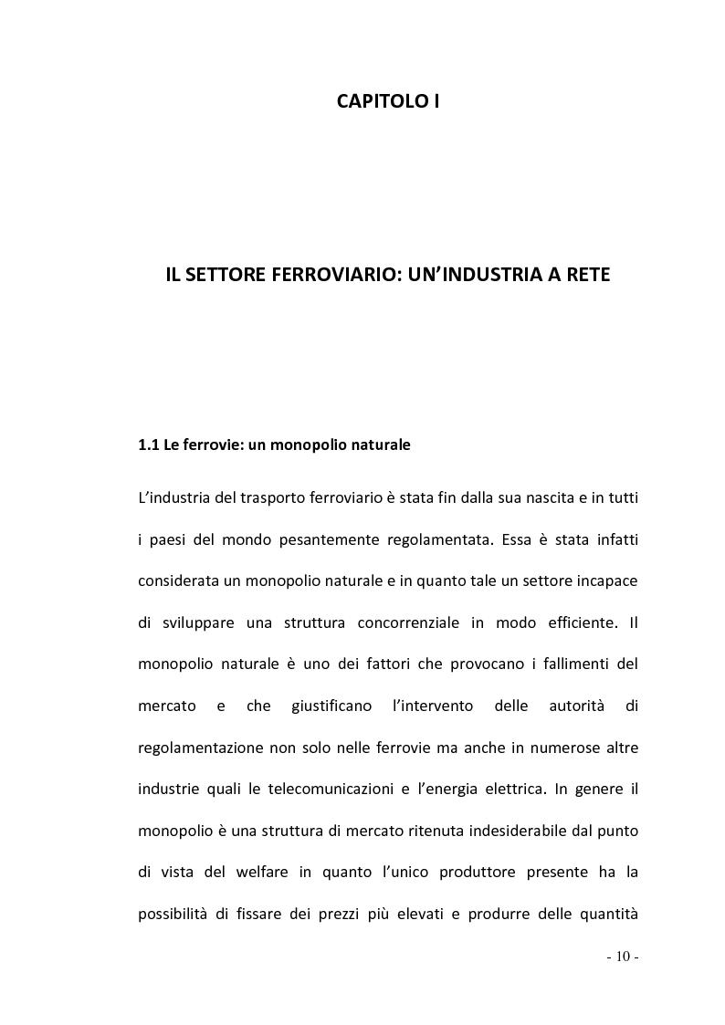 Anteprima della tesi: La regolamentazione del settore ferroviario: dal monopolio naturale alla concorrenza, Pagina 10