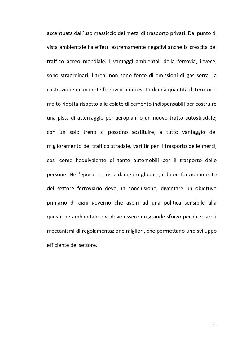 Anteprima della tesi: La regolamentazione del settore ferroviario: dal monopolio naturale alla concorrenza, Pagina 9