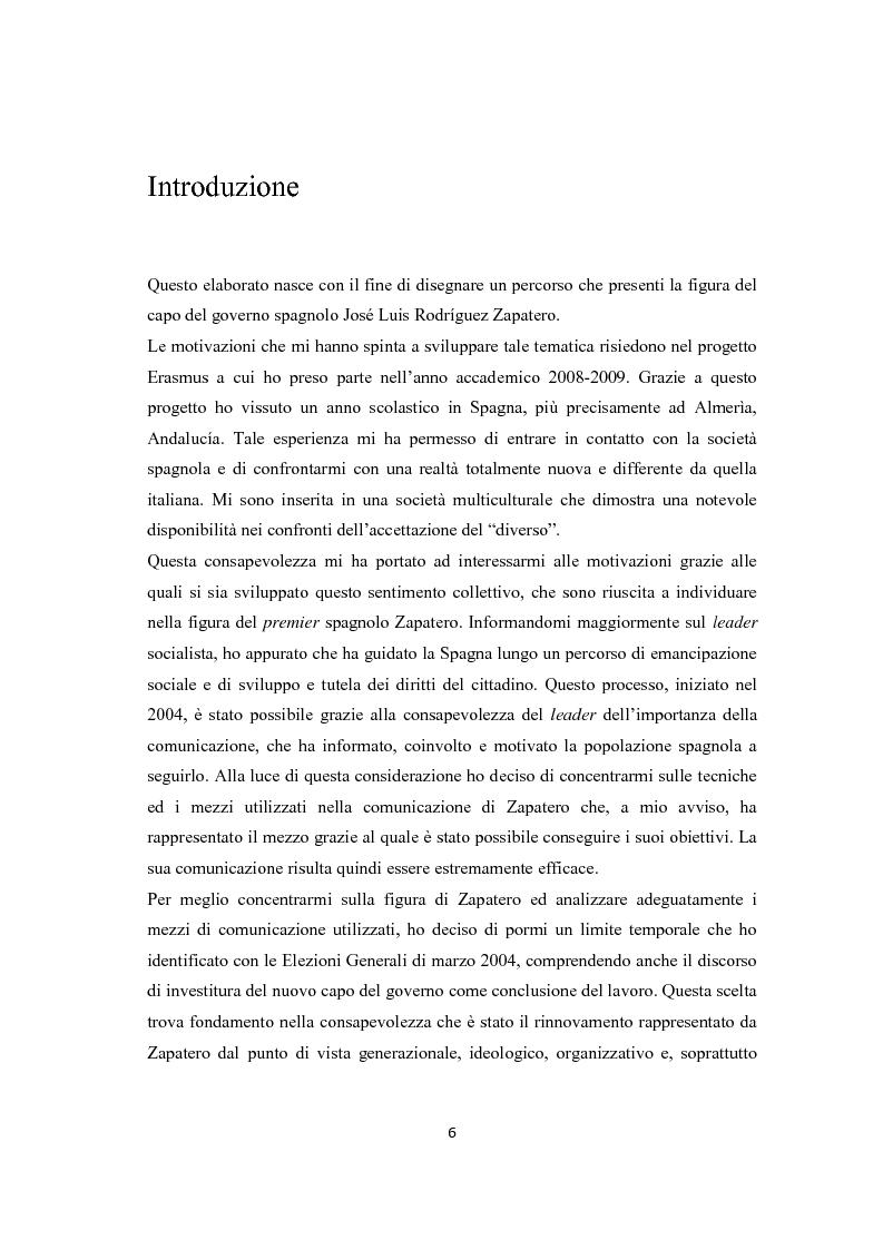 Anteprima della tesi: Jose Luis Rodriguez Zapatero: politica e comunicazione nelle elezioni del 2004, Pagina 1