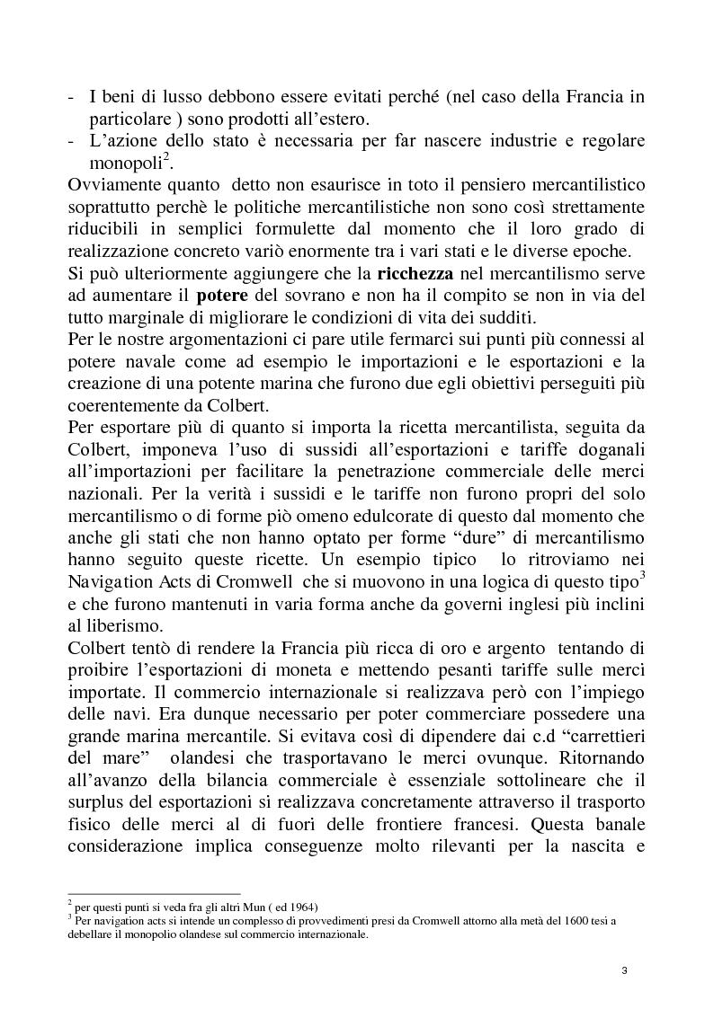 Anteprima della tesi: Economia e Potere navale agli inizi del XVIII secolo, Pagina 3