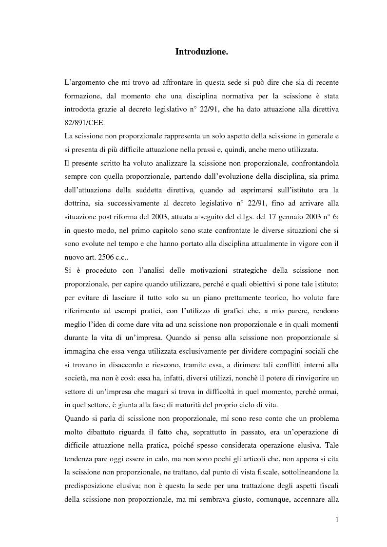 Anteprima della tesi: La scissione non proporzionale di società, Pagina 1
