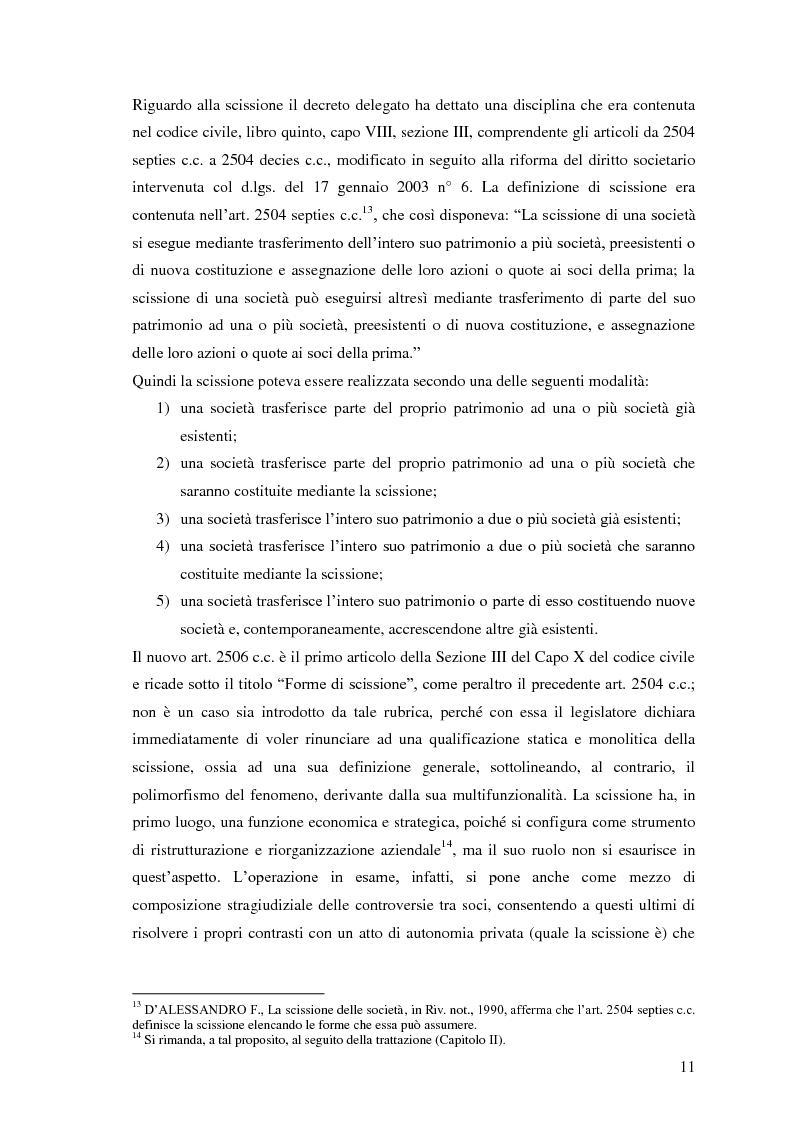 Anteprima della tesi: La scissione non proporzionale di società, Pagina 11