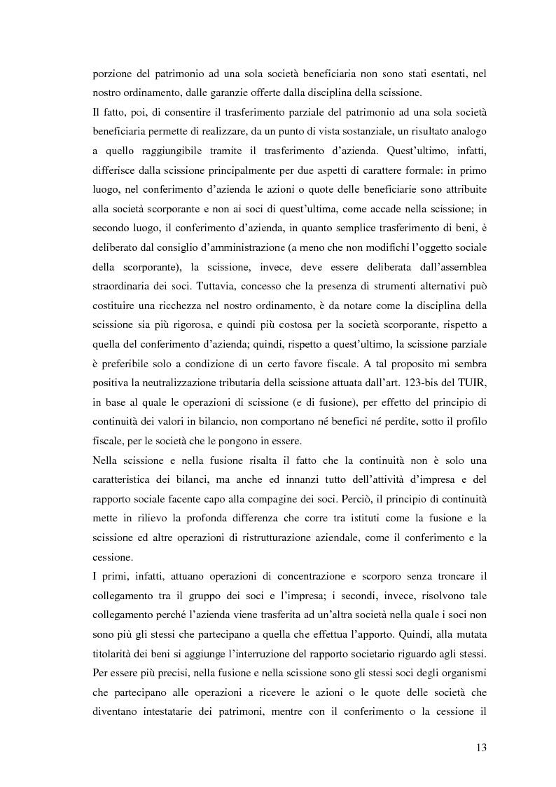 Anteprima della tesi: La scissione non proporzionale di società, Pagina 13
