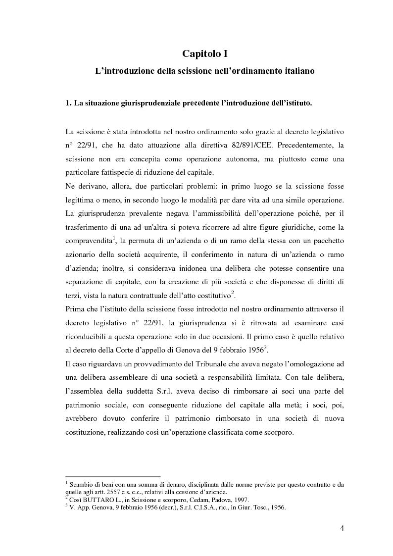Anteprima della tesi: La scissione non proporzionale di società, Pagina 4