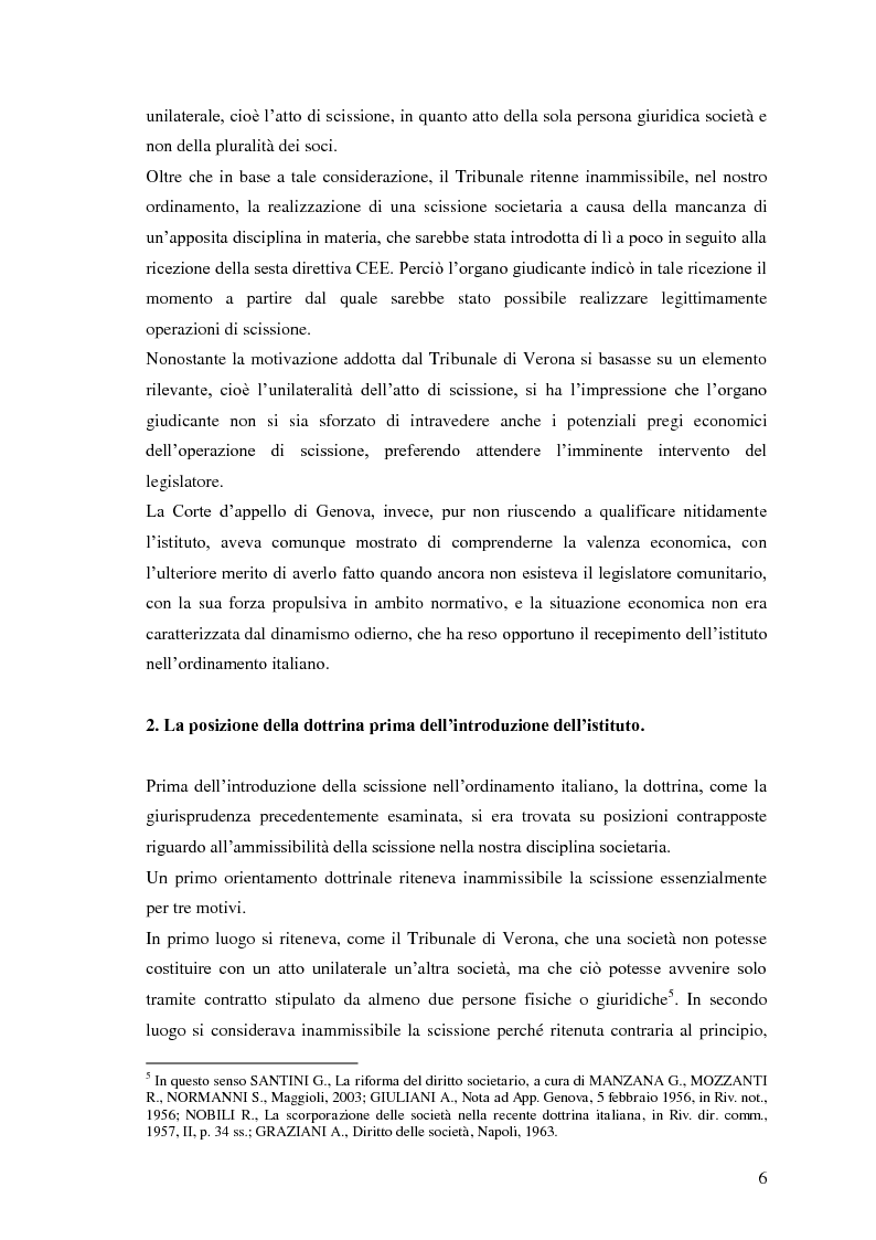 Anteprima della tesi: La scissione non proporzionale di società, Pagina 6
