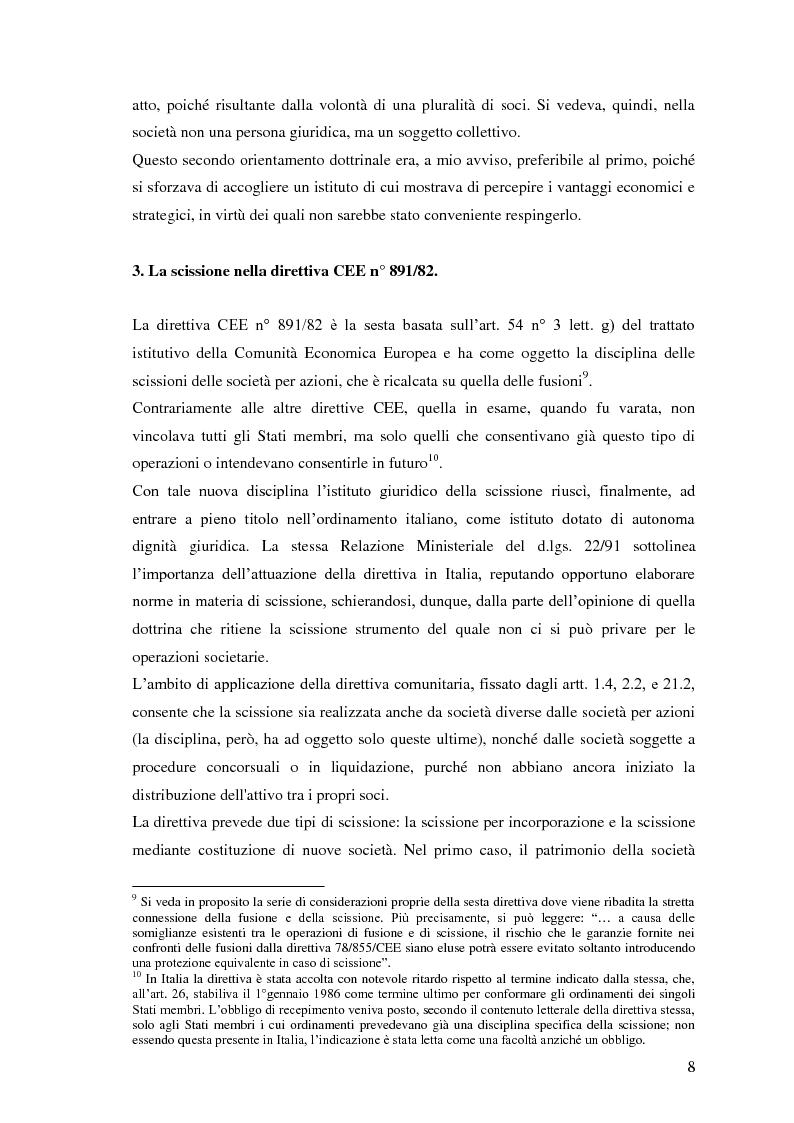 Anteprima della tesi: La scissione non proporzionale di società, Pagina 8